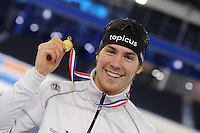SCHAATSEN: HEERENVEEN: 04-02-2017, KPN NK Junioren, Podium Junioren A Heren 1000m, Thijs Govers, ©foto Martin de Jong