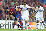 Football - FC Barcelona v Inter Milan UEFA Champions League Semi Final Second Leg - Camp Nou Stadium, Barcelona, Spain - 28/4/10 Inter Milan's Diego Milito Milito and  Sergio Busquets of Barcelona