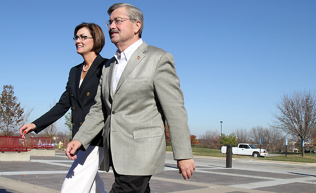 Terry Branstad and running mate Kim Reynolds arrive at the Hy-Vee Conference Center in Wes Des Moines Tuesday, November 2, 2010, for their walk-through of tonight's Republican Party election rally.