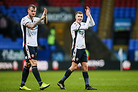 Bolton Wanderers' David Wheater and Josh Vela  applaud their fans at the end of the match<br /> <br /> Photographer Andrew Kearns/CameraSport<br /> <br /> The EFL Sky Bet Championship - Bolton Wanderers v Fulham - Saturday 10th February 2018 - Macron Stadium - Bolton<br /> <br /> World Copyright &copy; 2018 CameraSport. All rights reserved. 43 Linden Ave. Countesthorpe. Leicester. England. LE8 5PG - Tel: +44 (0) 116 277 4147 - admin@camerasport.com - www.camerasport.com