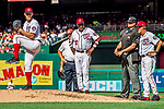 8 July 2017: Washington Nationals starting pitcher Stephen Strasburg is watched by Manager Dusty Baker (center) and and pitching coach Mike Maddux (right) as he takes a practice pitch after getting hit by a ball during play against the Atlanta Braves at Nationals Park in Washington, DC. The Braves shut out the Nationals 13-0 to take the third game of their 4-game series. Mandatory Credit: Ed Wolfstein Photo *** RAW (NEF) Image File Available ***