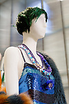Blue Maloney dress detail shown at the Catherine Martin and Muccia Prada Dress Gatsby display at Prada store in SOHO, NYC May 4, 2013.