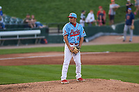 Peoria Chiefs relief pitcher Fabian Blanco (21) during a Midwest League game against the Bowling Green Hot Rods at Dozer Park on May 5, 2019 in Peoria, Illinois. Peoria defeated Bowling Green 11-3. (Zachary Lucy/Four Seam Images)