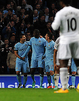 Picture: Andrew Roe/AHPIX LTD, Football, Barclays Premier League, Manchester City v Swansea City, 22/11/14, Etihad Stadium, K.O 3pm<br /> <br /> City's Yaya Toure (c) celebrates his goal with Sergio Aguero and Stefan Jovetic<br /> <br /> Andrew Roe>>>>>>>07826527594