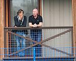 24.09.2019 Rangers training: Ex-Rangers striker Marco Negri watching training with John Brown