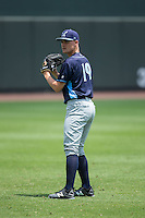 Wilmington Blue Rocks starting pitcher Josh Staumont (19) warms up in the outfield prior to the game against the Winston-Salem Dash at BB&T Ballpark on June 26, 2016 in Winston-Salem, North Carolina.  The Dash defeated the Blue Rocks 5-1.  (Brian Westerholt/Four Seam Images)