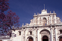 Baroque style facade of the cathedral in the Spanish Colonial city of Antigua, Guatemala