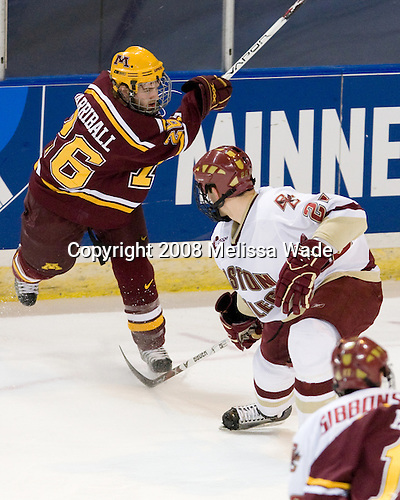 Jay Barriball (Minnesota - 26), Nick Petrecki (BC - 26) - The Boston College Eagles defeated the University of Minnesota Golden Gophers 5-2 on Saturday, March 29, 2008, in the NCAA Northeast Regional Semi-Final at the DCU Center in Worcester, Massachusetts.