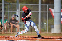 Ball State Cardinals center fielder Aaron Simpson (1) bats during a game against the Saint Joseph's Hawks on March 9, 2019 at North Charlotte Regional Park in Port Charlotte, Florida.  Ball State defeated Saint Joseph's 7-5.  (Mike Janes/Four Seam Images)