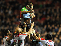 Heineken Cup. London, England. Olly Kohn of Harlequins wins the line out  during the Heineken Cup Pool 3 match between Harlequins and Biarritz Olympique at Twickenham Stoop on October 13, 2012 in London, England.