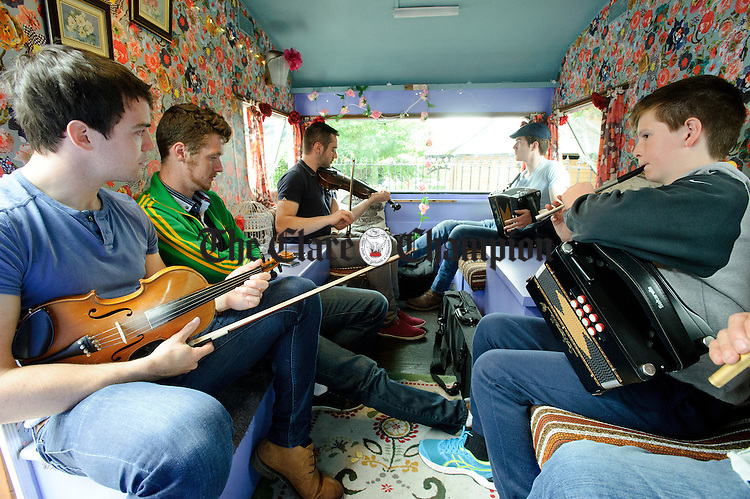 A session in progress in the Ceili Caravan outside the Old Ground hotel during Fleadh Cheoil na hEireann in Ennis. Photograph by John Kelly.