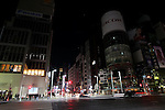 March 17, 2011, Tokyo, Japan - Eerie darkness prevails over otherwise bustling Ginza shopping district in the heart of Tokyo as bright lights and neon signs are turned off and streets are deserted around 9:00 p.m. Thursday, March 17, 2011. JapanÅfs largest electric utility company began the first-ever rolling blackout Monday to help prevent an unexpected large-scale power outage after a powerful earthquake shut two nuclear plants indefinitely on March 11. The blackout, however, could sharply curtail JapanÅfs economic growth and disrupt global commerce. (Photo by Yusuke Nakanishi/AFLO) [1090]