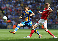27th May 2018, Wembley Stadium, London, England;  EFL League 1 football, playoff final, Rotherham United versus Shrewsbury Town;  Michael Smith of Rotherham United puts pressure on Ben Godfrey of Shrewsbury Town