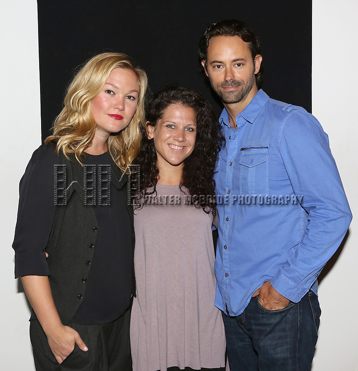 "Julia Stiles, Jennifer DeLia and James Wirt attend the ""Phoenix"" Cast Photo Call at their rehearsal studio on July 9, 2014 in New York City."