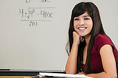 Stock photo of Asian student in classroom