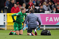 Liverpool goalkeeper, Siobhan Chamberlain receives some treatment in the first half after suffering an injury during Chelsea Ladies vs Liverpool Ladies, FA Women's Super League FA WSL1 Football at Kingsmeadow on 7th October 2017