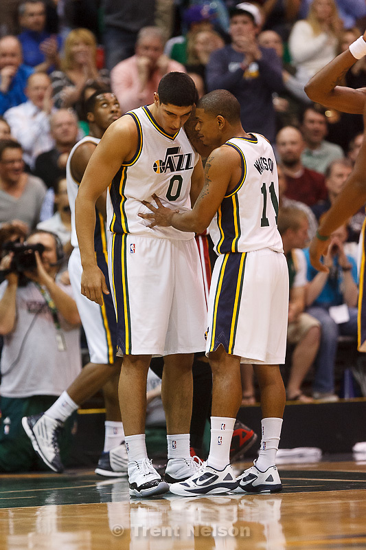 Trent Nelson  |  The Salt Lake Tribune.Utah Jazz guard Earl Watson (11) Utah Jazz center Enes Kanter (0) Utah Jazz vs. Miami Heat, NBA basketball at EnergySolutions Arena Friday, March 2, 2012 in Salt Lake City, Utah.