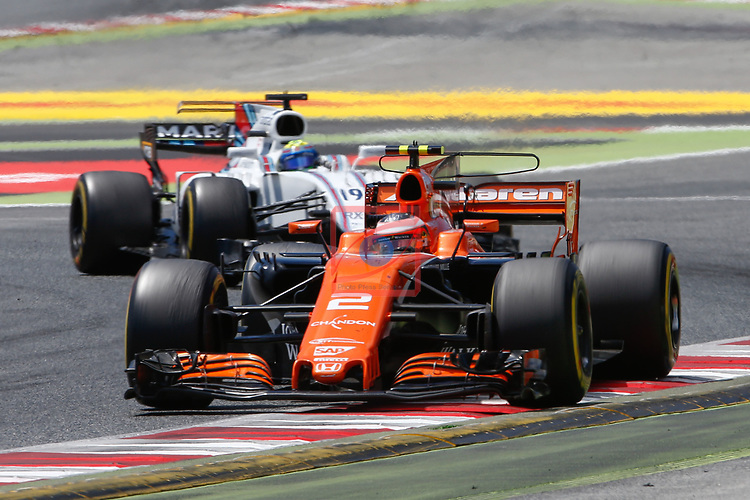 Spanish F1 Grand Prix Pirelli 2017.<br /> Felipe Massa (Williams) &amp; Stoffel Vandoorne (McLaren).