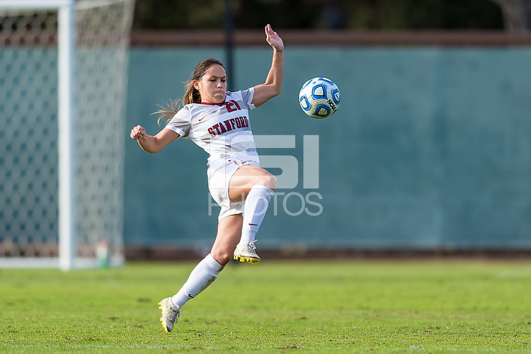 STANFORD, CA - November 23, 2014: Lo'eau LaBonta during the Stanford vs Arkansas NCAA women's third round soccer match in Stanford, California.  The Cardinal defeated the Huskies 1-0.