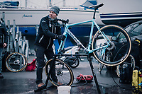 cleaning the bikes<br /> <br /> Men's Junior race<br /> <br /> UCI 2019 Cyclocross World Championships<br /> Bogense / Denmark<br /> <br /> ©kramon