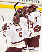 Casey Fitzgerald (BC - 5), Matthew Gaudreau (BC - 21), JD Dudek (BC - 15), Ron Greco (BC - 28) - The Boston College Eagles defeated the visiting Providence College Friars 3-1 on Friday, October 28, 2016, at Kelley Rink in Conte Forum in Chestnut Hill, Massachusetts.The Boston College Eagles defeated the visiting Providence College Friars 3-1 on Friday, October 28, 2016, at Kelley Rink in Conte Forum in Chestnut Hill, Massachusetts.
