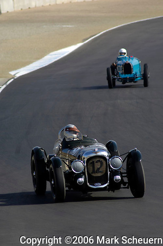 33rd Rolex Monterey Historic Races, 2006<br /> <br /> Richard Morrison, in his 1939 Lagonda V12, is followed by the 1927 Bugatti T-38B of Richard Longes, at the 33rd Rolex Monterey Historic Automobile Races 2006<br /> <br /> Please contact me for the full-size image<br /> <br /> For non-editorial usage, releases are the responsibility of the licensee.