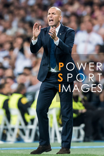 Coach Zinedine Zidane of Real Madrid reacts during their 2016-17 UEFA Champions League Semifinals 1st leg match between Real Madrid and Atletico de Madrid at the Estadio Santiago Bernabeu on 02 May 2017 in Madrid, Spain. Photo by Diego Gonzalez Souto / Power Sport Images