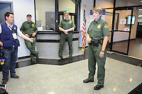 Nogales, Arizona -Border Patrol Agent in Charge Leslie Lawson welcomes journalists to the Border Patrol Nogales station. National and international reporters participated in a two-day event organized by the Border Patrol. Lawson is the first woman to permanently serve as chief of the Nogales Station. She has been with the Border Patrol for 18 years. The Nogales station is one of eight in the Tucson Sector, which is the busiest on the U.S.-Mexico border for illegal immigration, drug smuggling and border deaths. It is also the largest station of the Border Patrol's 139 stations, and it covers 32 linear miles of the U.S.-Mexico border and a total area of 1,100 square miles. Photo by Eduardo Barraza © 2012