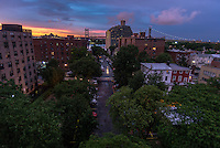 Queens, New York, USA - Sunset in Astoria Queens after a summer storm.