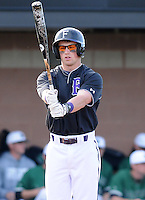 Infielder Will Muzika (2) of the Furman Paladins in a game against the University of South Carolina Upstate Pioneers on January 22, 2012, at Harley Baseball Park in Spartanburg, South Carolina. (Tom Priddy/Four Seam Images)