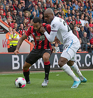 West Ham United's Angelo Ogbonna (right) battles for possession with Bournemouth's Callum Wilson (left) <br /> <br /> Photographer David Horton/CameraSport<br /> <br /> The Premier League - Bournemouth v West Ham United - Saturday 28th September 2019 - Vitality Stadium - Bournemouth<br /> <br /> World Copyright © 2019 CameraSport. All rights reserved. 43 Linden Ave. Countesthorpe. Leicester. England. LE8 5PG - Tel: +44 (0) 116 277 4147 - admin@camerasport.com - www.camerasport.com