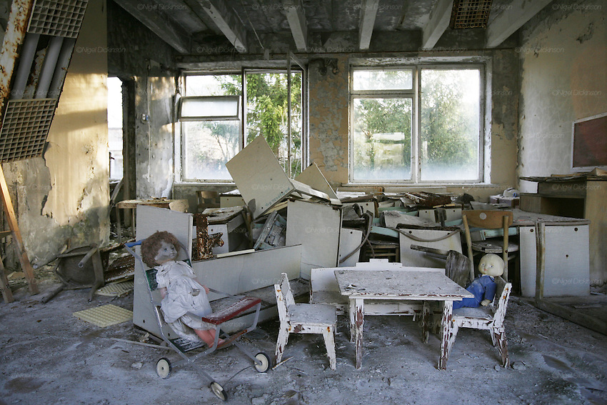 Chernobyl, Exclusion Zone, Ukraine. Dolls  tea party. Maternity Hospital. Pripyat Town built 15 years before the Chernobyl reactor fire. The whole town was evacuated shortly after. The  Chernobyl Reactor, towns, plant and environs just before the 20th anniversary of the nuclear disaster.