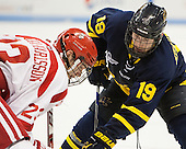 Jakob Forsbacka Karlsson (BU - 23), Michael Babcock (Merrimack - 19) - The Boston University Terriers defeated the visiting Merrimack College Warriors 4-0 (EN) on Friday, January 29, 2016, at Agganis Arena in Boston, Massachusetts.
