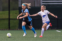 Allston, MA - Saturday, May 07, 2016: Chicago Red Stars defender Julie Johnston (8) and Boston Breakers midfielder Louise Schillgard (10) during a regular season National Women's Soccer League (NWSL) match at Jordan Field.