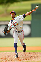 Rome Braves relief pitcher Ronan Pacheco #45 in action against the Kannapolis Intimidators at CMC-Northeast Stadium on August 5, 2012 in Kannapolis, North Carolina.  The Intimidators defeated the Braves 9-1.  (Brian Westerholt/Four Seam Images)