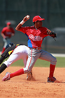 Philadelphia Phillies minor league shortstop Francisco Silva vs. the Pittsburg Pirates in an Instructional League game at Pirate City in Bradenton, Florida;  October 6, 2010.  Photo By Mike Janes/Four Seam Images
