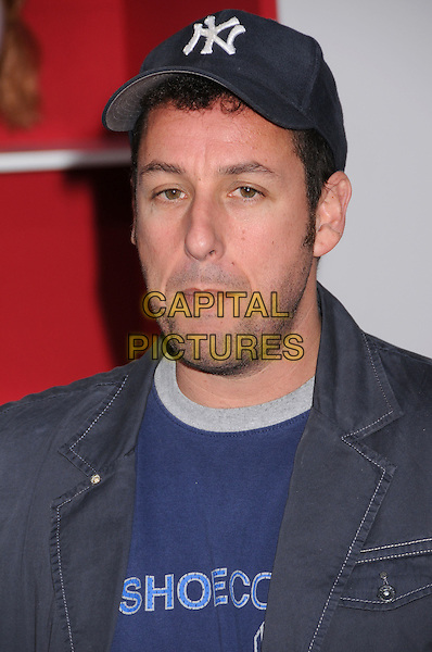 "ADAM SANDLER.""You Don't Mess With The Zohan"" LA Premiere at Grauman's Chinese Theatre, Hollywood, California, USA..May 28th, 2008.headshot portrait stubble facial hair blue jacket baseball cap .CAP/ADM/BP.©Byron Purvis/AdMedia/Capital Pictures."