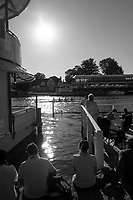 """Henley on Thames, United Kingdom, 29th June 2018, Friday, """"Henley Royal Regatta"""", Spectators, watch the Qualifying races, [Time Trails] from between viewing platform and """"floating grandstand"""" , Henley Reach, River Thames, Thames Valley, England, © Peter SPURRIER, 29/06/2018 No.401 Surbiton High School 'A'"""