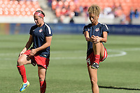 Houston, TX - Sunday Oct. 09, 2016: Whitney Church, Estelle Johnson prior to the National Women's Soccer League (NWSL) Championship match between the Washington Spirit and the Western New York Flash at BBVA Compass Stadium. The Western New York Flash win 3-2 on penalty kicks after playing to a 2-2 tie.