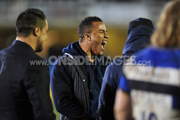 Anthony Watson of Bath Rugby shares in a joke with his team-mates after the match. Aviva Premiership match, between Bath Rugby and Sale Sharks on March 6, 2015 at the Recreation Ground in Bath, England. Photo by: Patrick Khachfe / Onside Images