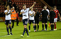 Bolton players applaud their travelling fans after their 2-1 victory over Crewe Alexandra<br /> <br /> Photographer Andrew Kearns/CameraSport<br /> <br /> The Carabao Cup - Crewe Alexandra v Bolton Wanderers - Wednesday 9th August 2017 - Alexandra Stadium - Crewe<br />  <br /> World Copyright &copy; 2017 CameraSport. All rights reserved. 43 Linden Ave. Countesthorpe. Leicester. England. LE8 5PG - Tel: +44 (0) 116 277 4147 - admin@camerasport.com - www.camerasport.com