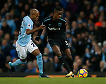 Edmilson Fernandes of West Ham United challenged by Fernandinho of Manchester City during the premier league match at the Etihad Stadium, Manchester. Picture date 3rd December 2017. Picture credit should read: Andrew Yates/Sportimage