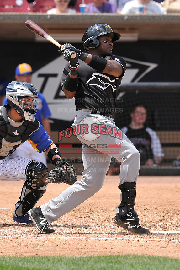 Quad Cities River Bandits designated hitter Ronnie Dawson (12) swings during a game against the Wisconsin Timber Rattlers at Fox Cities Stadium on June 27, 2017 in Appleton, Wisconsin.  Wisconsin lost 6-5.  (Dennis Hubbard/Four Seam Images)