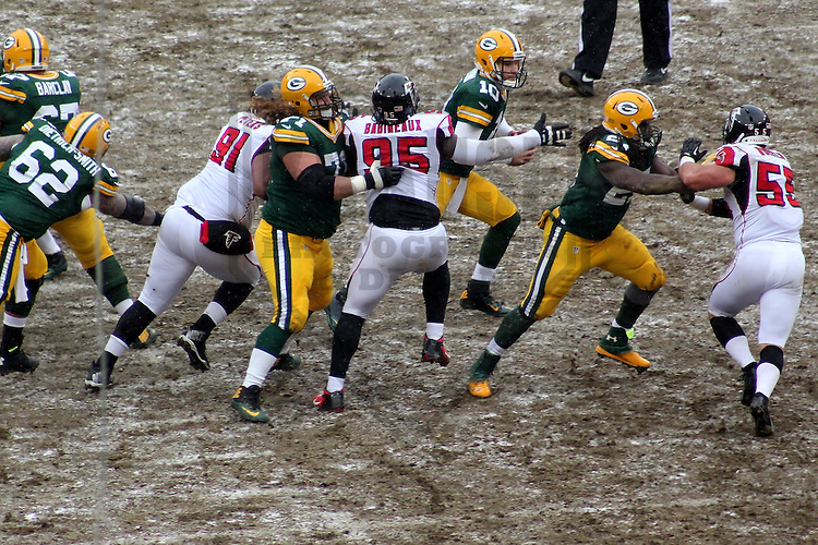 GREEN BAY - December 2013: The Green Bay Packers against the Atlanta Falcons on December 8, 2013 at Lambeau Field in Green Bay, Wisconsin. (Photo by Brad Krause)