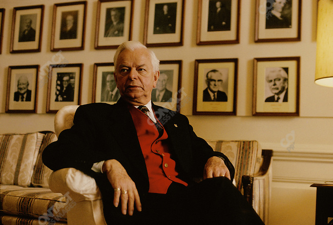 Senator Robert Byrd, Democrat from West Virginia, in his office in Washington, D.C. January 1995