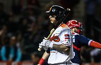 Alejandro Flores es ponchado, durante el juego de beisbol de la Liga Mexicana del Pacifico temporada 2017 2018. Cuarto juego de la serie de playoffs entre Mayos de Navojoa vs Naranjeros. 05Enero2018. (Foto: Luis Gutierrez /NortePhoto.com)