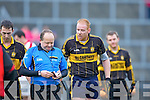 Currow's Seamus Scanlon unsuccessfully pleads with referee James O'Sullivan not to send him off during the O'Donoghue cup semi final in Fitzgerald Stadium on Sunday