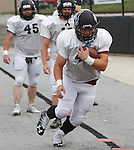 Lindenwood RB Robby Vall, who played at Freeburg High School, runs a drill with the Lynx.