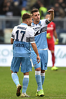 Ciro Immobile of Lazio and Sergej Milinkovic-Savic of Lazio talk during the Serie A 2018/2019 football match between SS Lazio and Cagliari at stadio Olimpico, Roma, December 22, 2018 <br />  Foto Andrea Staccioli / Insidefoto