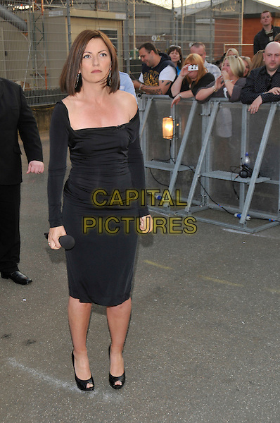 DAVINA McCALL.Housemates enter the Big Brother House for Big Brother 9,.Borehamwood, England, 5th June 2008..arrivals full length black dress peep toe shoes.CAP/PL.©Phil Loftus/Capital Pictures